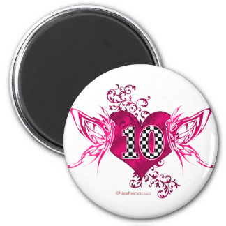 10 Racing number with butterflies 2 Inch Round Magnet