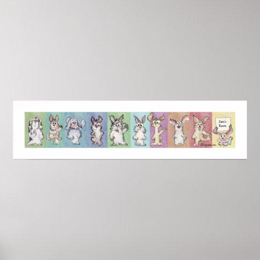 10 Rainbow Rabbits Custom Poster