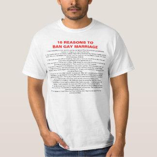 10 Reasons To Ban Gay Marriage T-Shirt