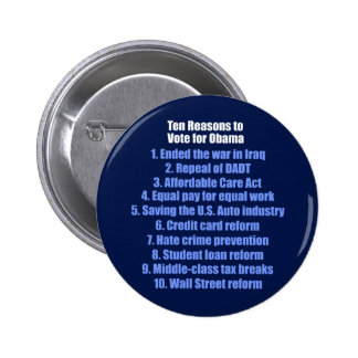 10 Reasons to Vote for Obama Button