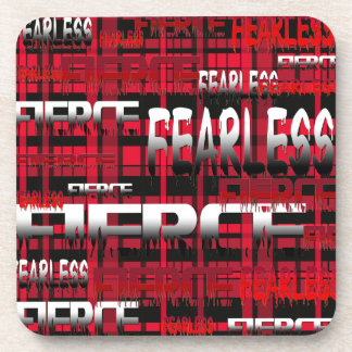 10.Red and Black Plaid Fearless Fierce Beverage Coaster