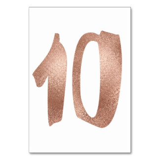 10 Table  Number White Metallic Pink Rose Gold Table Number