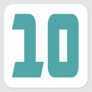 #10 Teal Bold Square Sticker