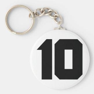 10 ten number basic round button keychain