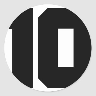 10 ten number classic round sticker