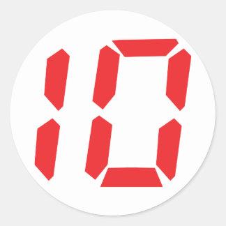 10 ten  red alarm clock digital number classic round sticker