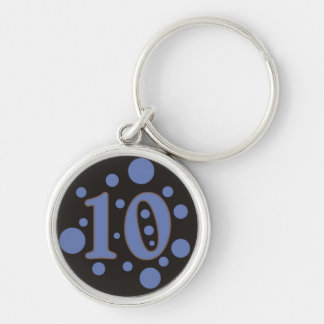 10-Ten Silver-Colored Round Keychain