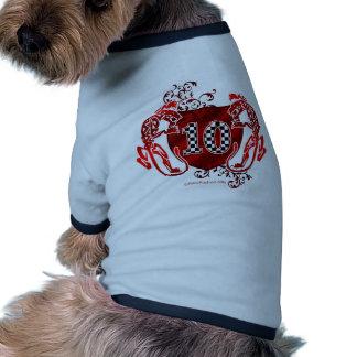 10 tigres del número el competir con auto camiseta con mangas para perro