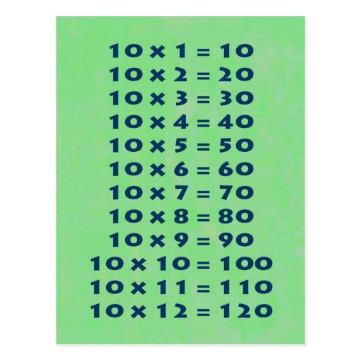10 times table collectible postcard zazzle for 10 in 1 table