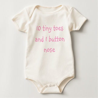 10 tiny toes and 1 button nose - Pink Baby Bodysuit