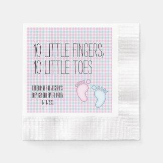 10 Toes Gender Reveal Pink Blue Paper Napkins