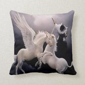 #10-Unicorn and Pegasus fighting Throw Pillow