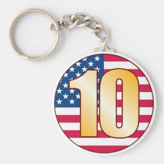 10 USA Gold Basic Round Button Keychain