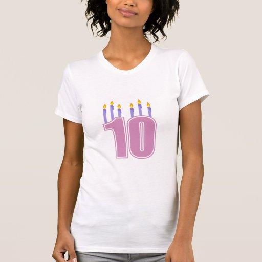10 velas del cumpleaños (rosa/púrpura) camiseta