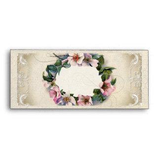 10 Vintage Floral Lace Wild Pink Rose Swirl Formal Envelope