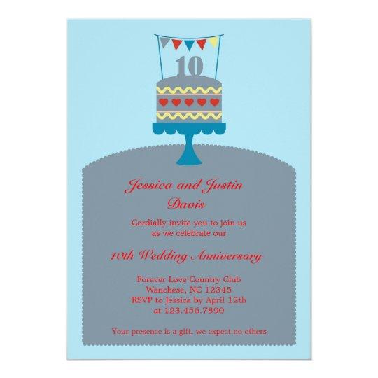 10 Wedding Anniversary Cake Invitation