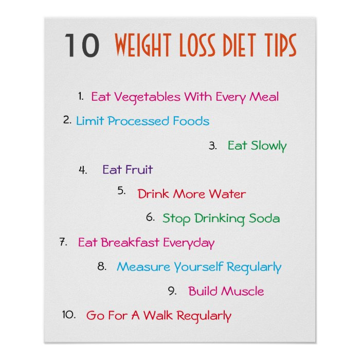 10 Weight Loss Diet Tips Poster