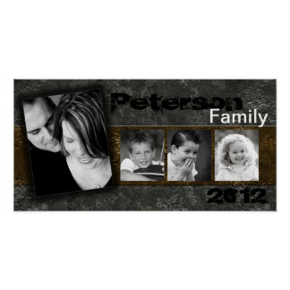 "10""x20"" 4 Slot Family Collage Montage Inked Poster"