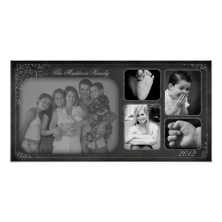 "10""x20"" 5 Slot Family Collage Montage Chalk Board Poster"