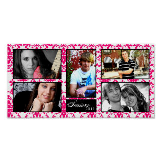 "10""x20"" 5 Slot Personalized Senior Collage Montage Poster"