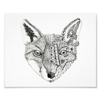 10 x 8 Illustrated Fox Pen Art Photo Print