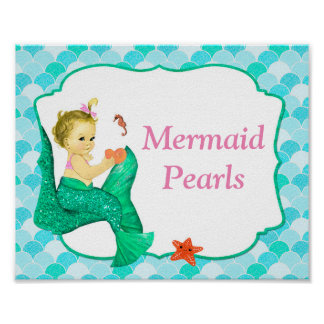 """10"""" x 8"""" Mermaid Baby Party Sign #2 Poster"""