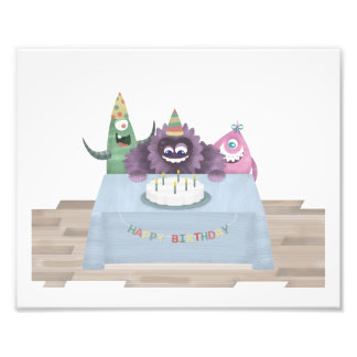 "10"" x 8"", Monster Print - Happy Birthday"