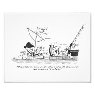 "10"" x 8"" Print - Fishing Cartoon - Pirate Squirrel"