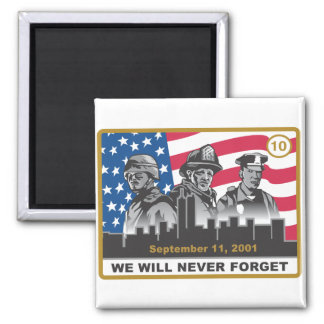 10 Year 9/11 Anniversary Design 2 Inch Square Magnet