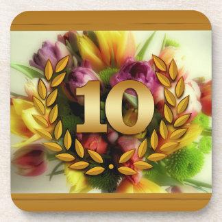 10 year anniversary floral illustration coaster