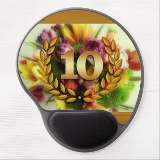 10 year anniversary floral illustration gel mouse pad