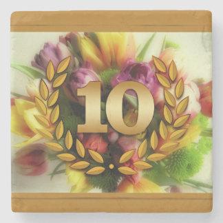 10 year anniversary floral illustration stone beverage coaster