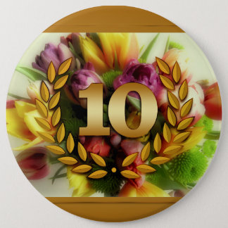 10 year anniversary floral illustration pinback button