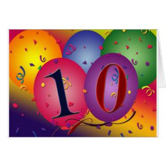 10 year old birthday balloons! card