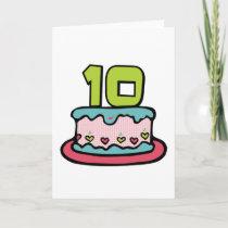 10 Year Old Birthday Cake cards by Birthday_Bash