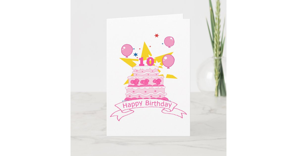 Admirable 10 Year Old Birthday Cake Card Zazzle Com Funny Birthday Cards Online Barepcheapnameinfo