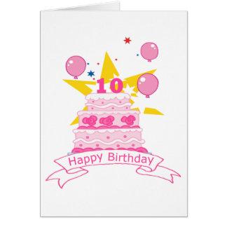 10 Year Old Birthday Cake Greeting Card