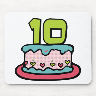 10 Year Old Birthday Cake Mouse Pad