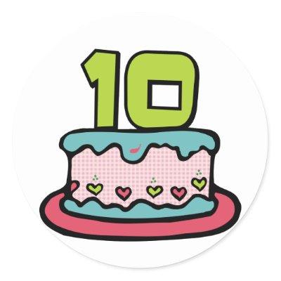 10 Year Old Birthday Cake Round Stickers by Birthday_Bash