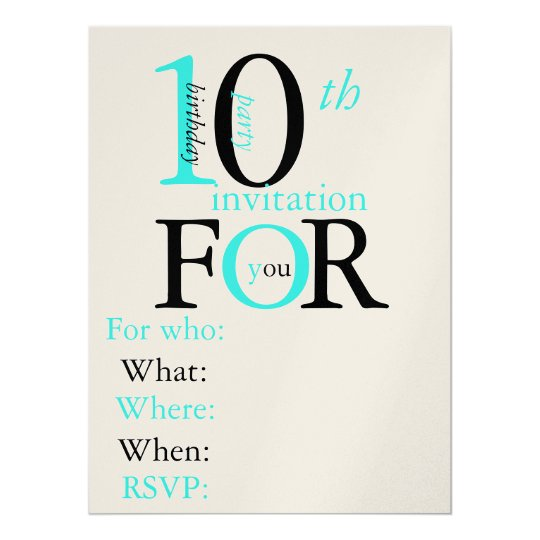 10 year old birthday invitation zazzle com