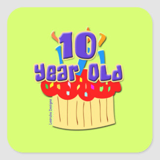 10 Year Old Birthday Square Sticker