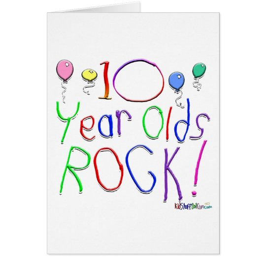 10 Year Olds Rock! Greeting Card
