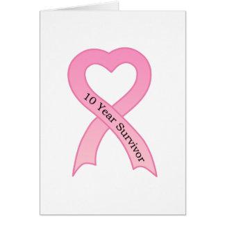 10 Year Survivor Pink Ribbon Greeting Card
