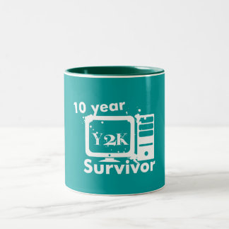 10 Year Y2K Survivor {Teal Mug} Two-Tone Coffee Mug