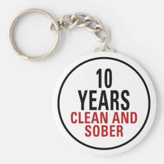 10 Years Clean and Sober Keychain