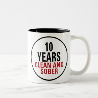 10 Years Clean and Sober Two-Tone Coffee Mug