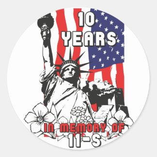 10 years in Memory of 11-S Classic Round Sticker