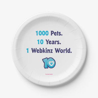 10 Years of Webkinz Stats Paper Plate