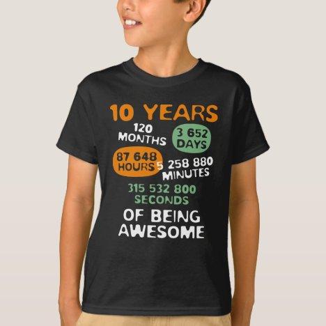 10 Years Old Math Lover Geek Tee