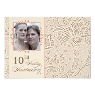 10 years photo wedding anniversary vintage card